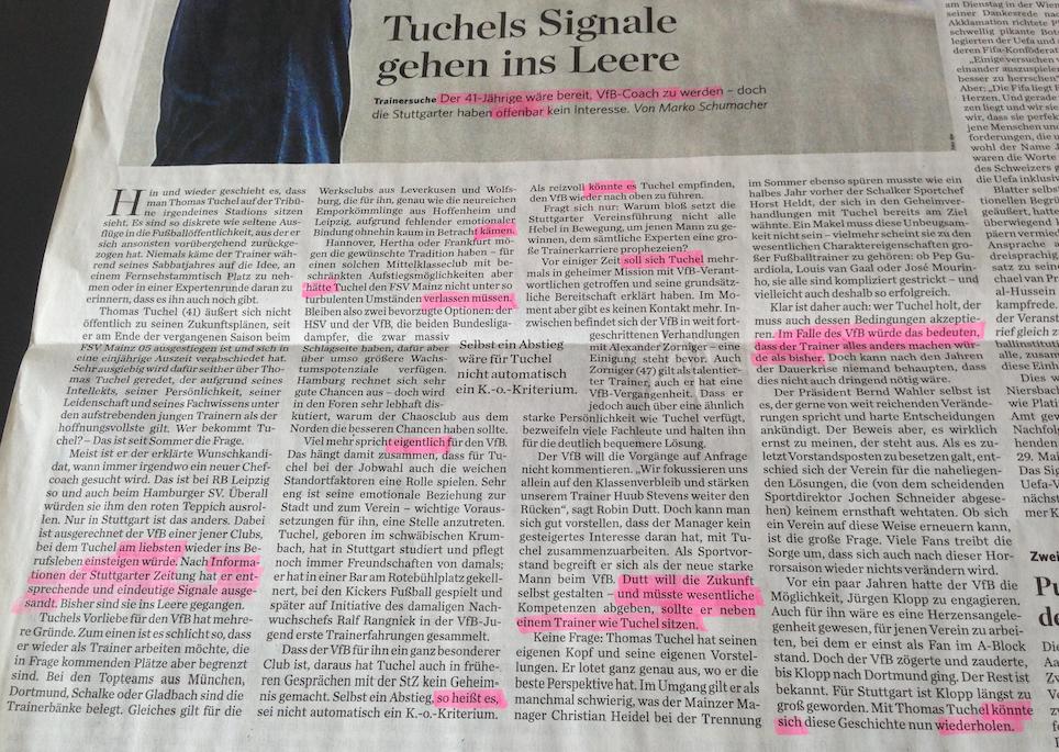 Die vagen und spekulativen Stellen im Text der Stuttgarter Zeitung sind hervorgehoben. Ich habe sicher welche übersehen.